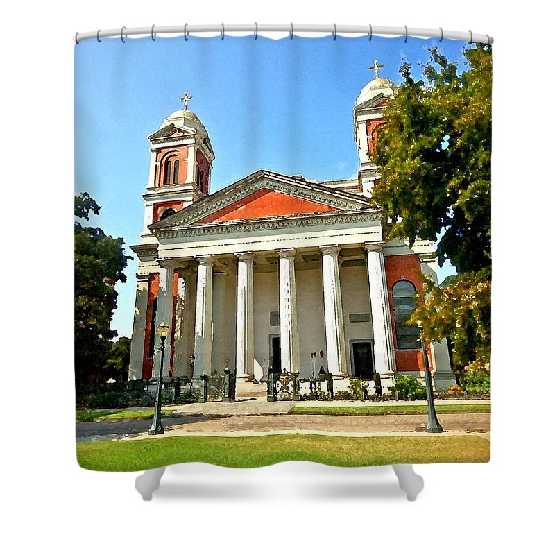 Mobile Shower Curtain featuring the digital art Mobile Cathedral by Michael Thomas
