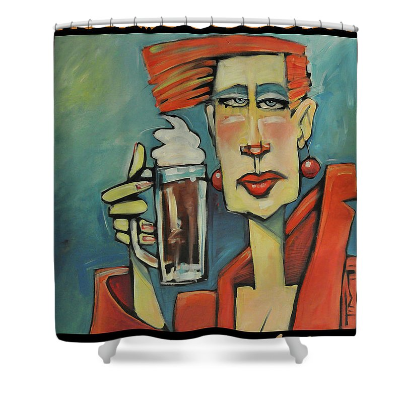 Woman Shower Curtain featuring the painting Mocha Double Shot by Tim Nyberg