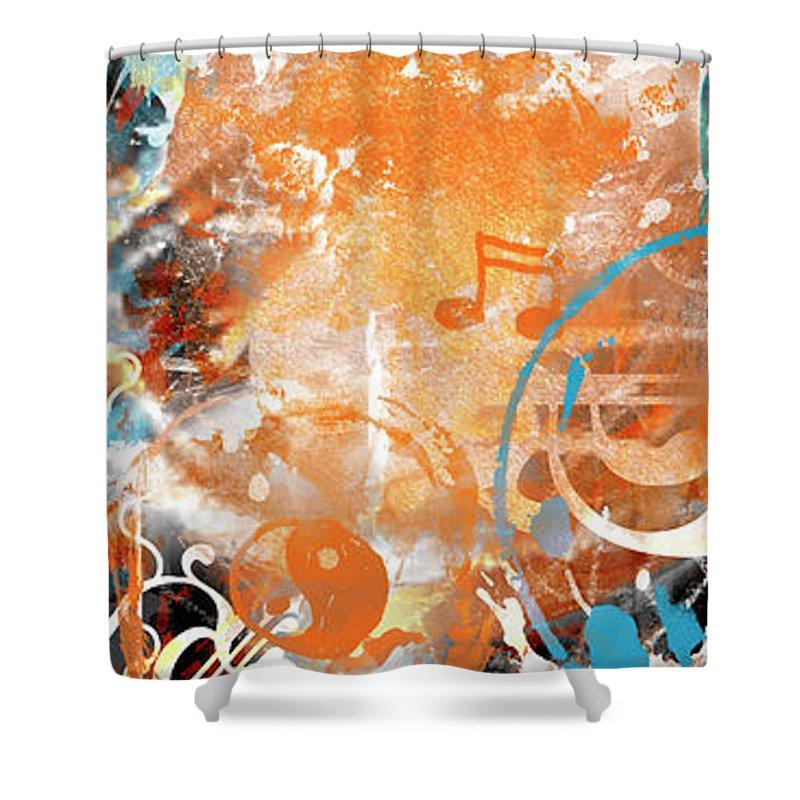Abstract Shower Curtain featuring the digital art Modern Art Beyond Control by Melanie Viola