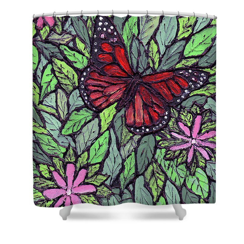 Monarch Shower Curtain featuring the painting Monarch Butterfly by Wayne Potrafka