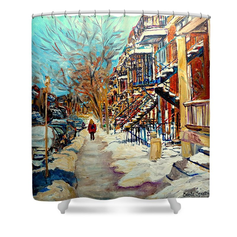 Montreal Shower Curtain featuring the painting Montreal Street In Winter by Carole Spandau