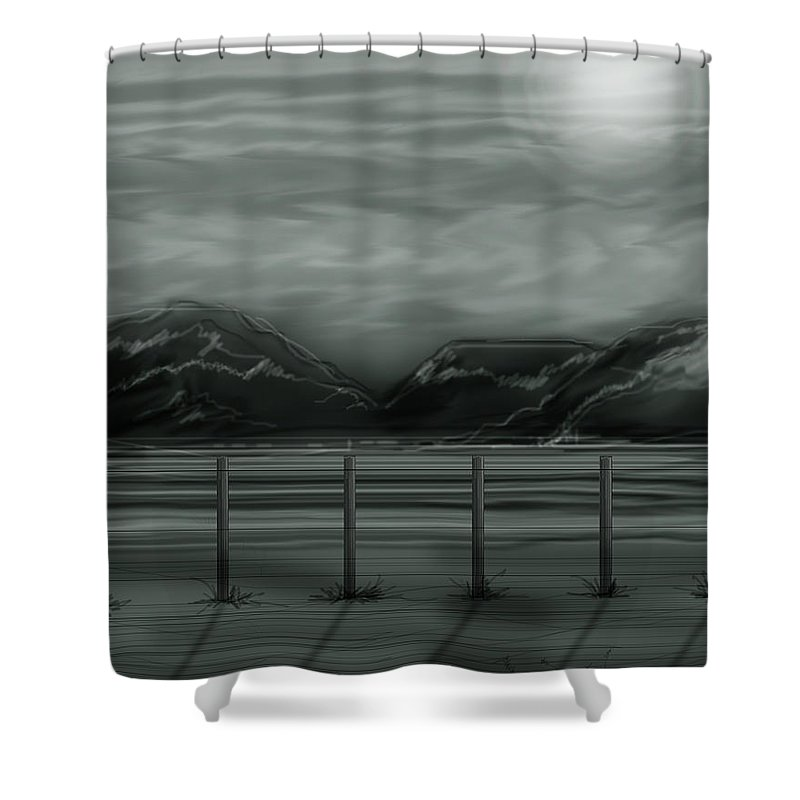 Landscape Shower Curtain featuring the painting Moon Over The Beartooth by Anne Norskog