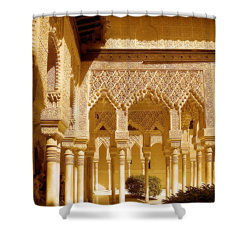 Moorish Shower Curtain featuring the photograph Moorish Architecture In The Nasrid Palaces At The Alhambra Granada by Mal Bray