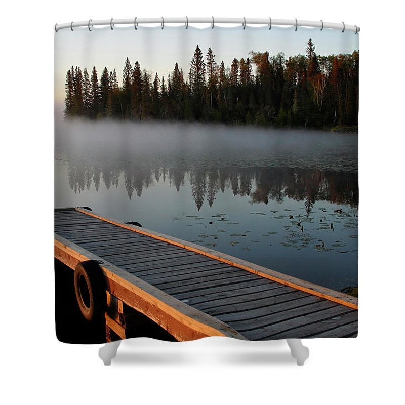 Mist Shower Curtain featuring the digital art Morning Mist Over Lynx Lake In Northern Saskatchewan by Mark Duffy