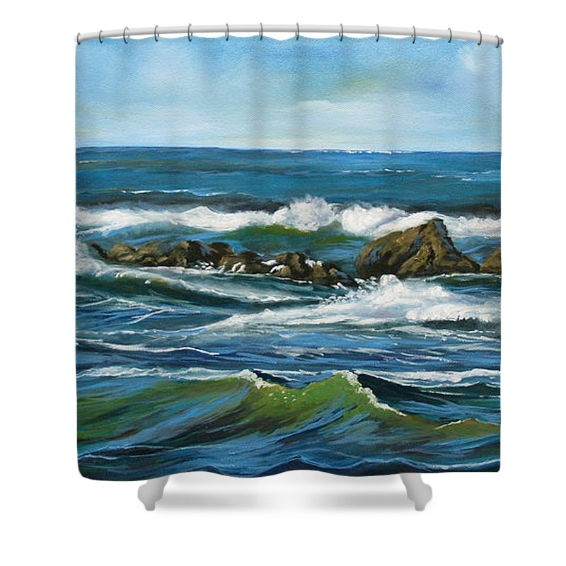 Seascape Shower Curtain featuring the painting Morning Rush by Larry Geyrozaga