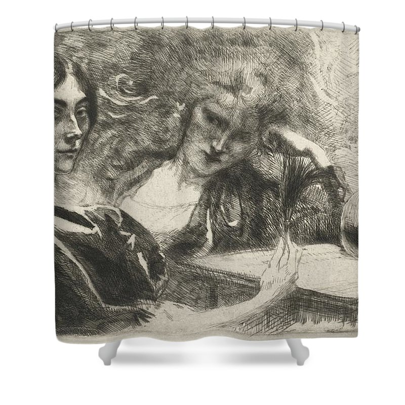 Shower Curtain featuring the drawing Morphine Addicts (morphinomanes) by Albert Besnard