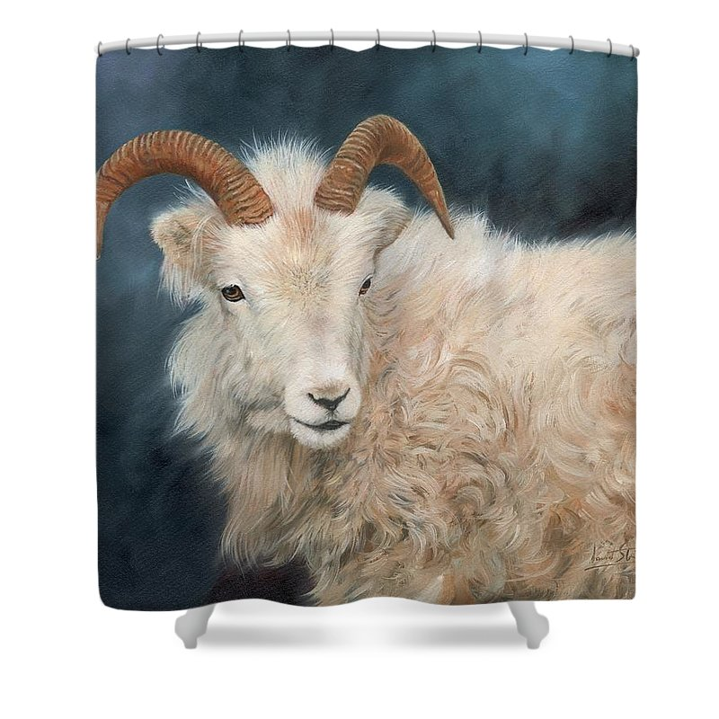 Mountain Goat Shower Curtain Featuring The Painting By David Stribbling