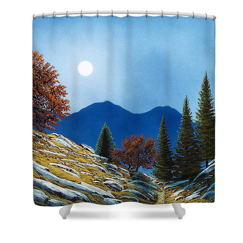 Landscape Shower Curtain featuring the painting Mountain Moonrise by Frank Wilson