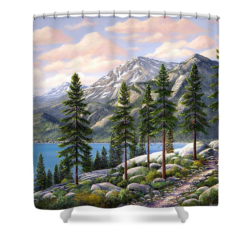 Landscape Shower Curtain featuring the painting Mountain Trail by Frank Wilson