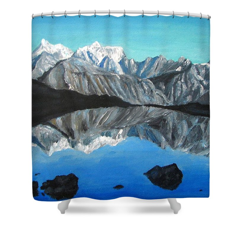 Smoky Mountains Shower Curtain featuring the painting Mountains Landscape Acrylic Painting by Natalja Picugina