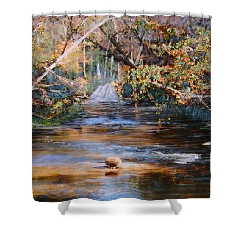 River; Waterfalls Shower Curtain featuring the painting My Secret Place by Ben Kiger