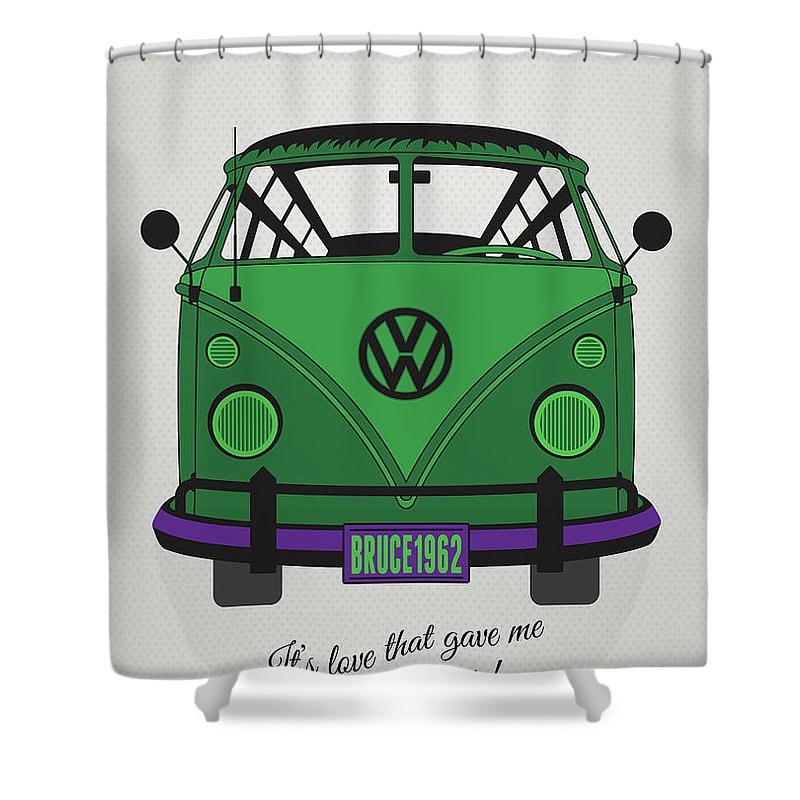 Superheroes Shower Curtain Featuring The Digital Art My Superhero Vw T1 Hulk By