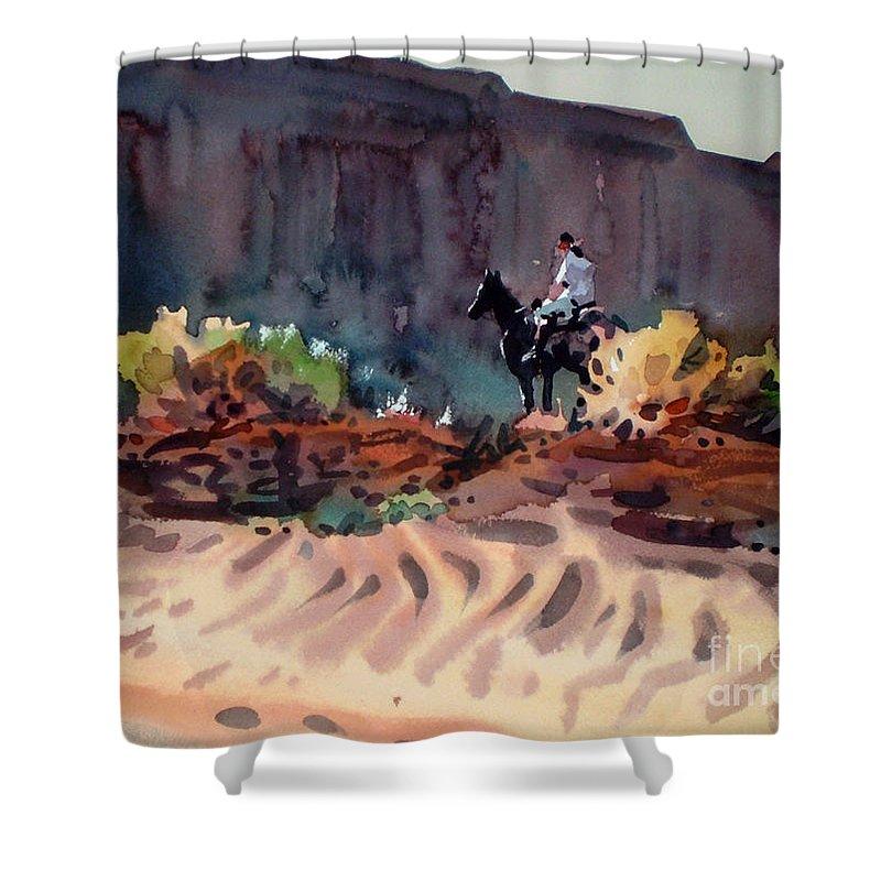 Equestrian Shower Curtain featuring the painting Navajo Rider by Donald Maier