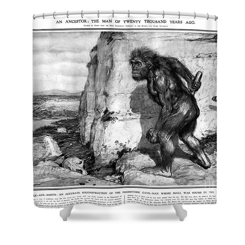 1909 Shower Curtain featuring the photograph Neanderthal Man by Granger
