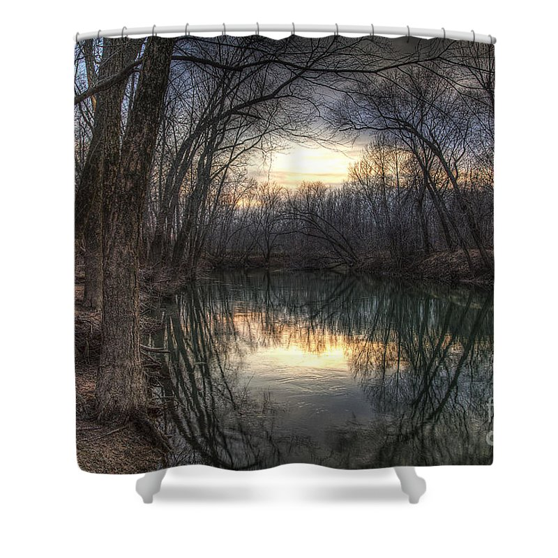 2013 Shower Curtain featuring the photograph Neath The Willows By The Stream by Larry Braun
