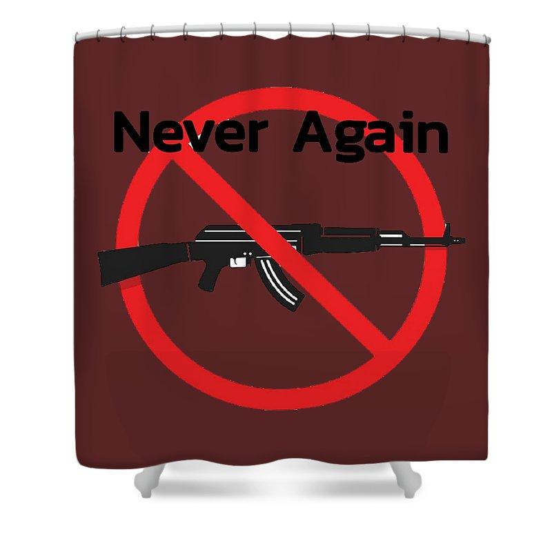 Ak47 Shower Curtain featuring the digital art Never Again Ak47 by Samantha Simmons
