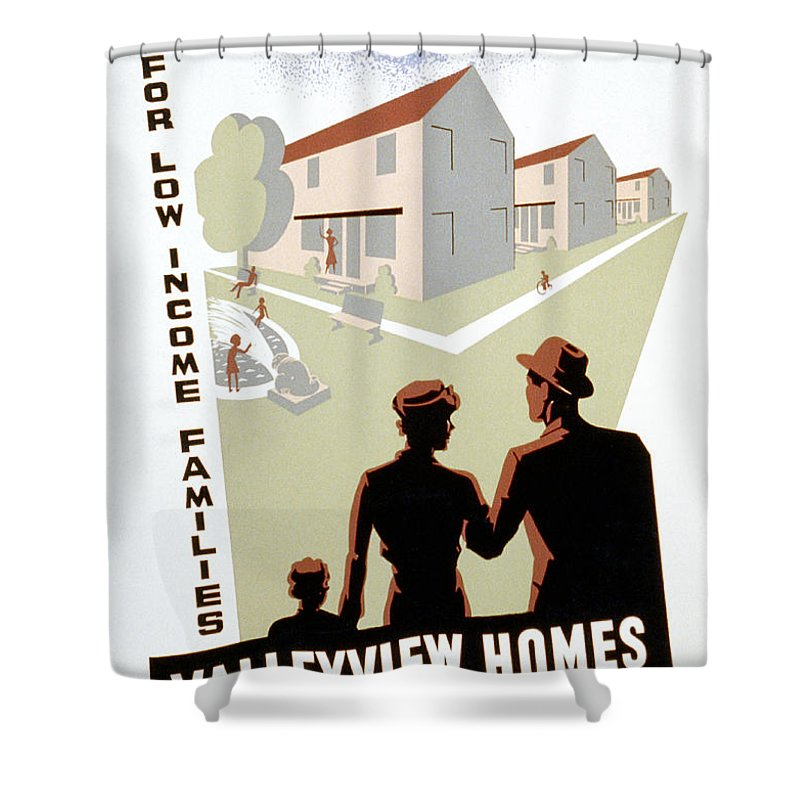 1936 Shower Curtain featuring the photograph New Deal: Wpa Poster by Granger