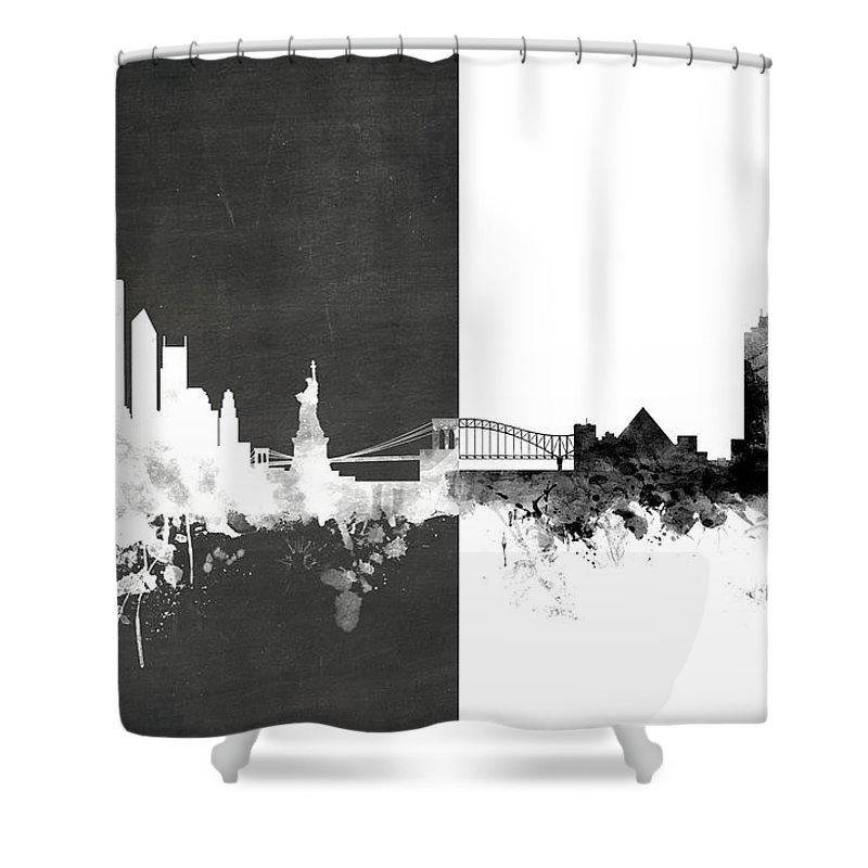 New York Memphis Skyline Mashup Shower Curtain for Sale by Michael ...