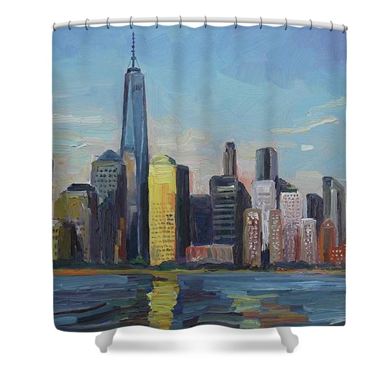 New York Shower Curtain featuring the painting New York Skyline by John Kilduff