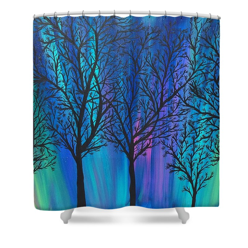 Acrylic Painting. Landscape Shower Curtain featuring the painting Night Beauty by Kim Mlyniec