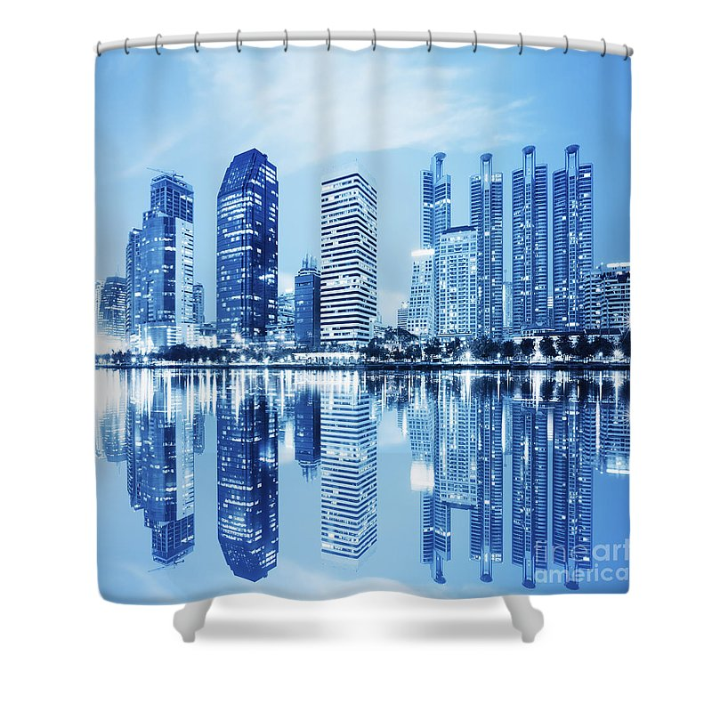Architecture Shower Curtain featuring the photograph Night Scenes Of City by Setsiri Silapasuwanchai
