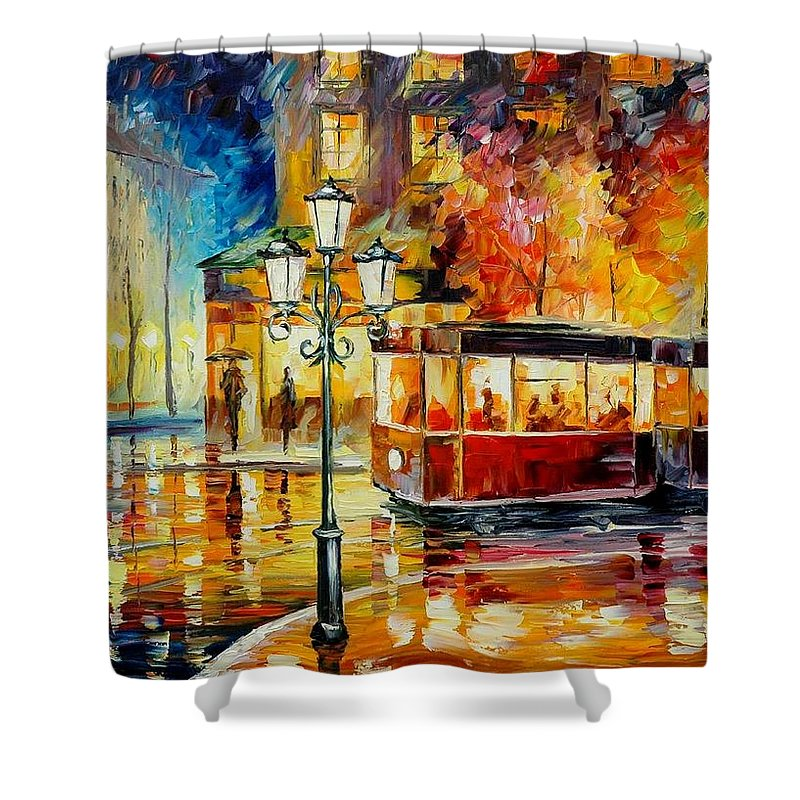 Afremov Shower Curtain featuring the painting Night Trolley by Leonid Afremov