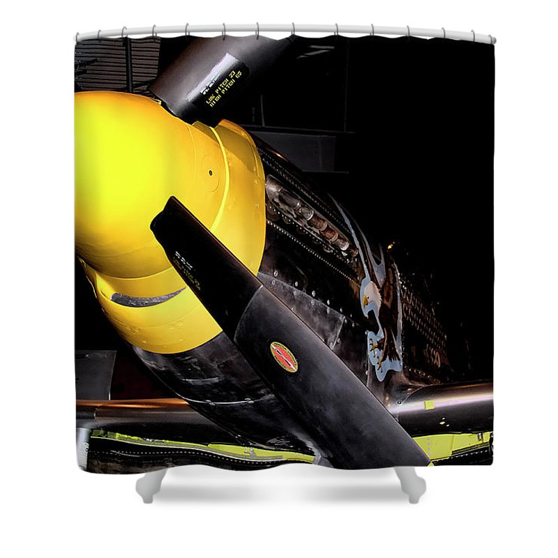 Fighter Shower Curtain featuring the photograph North American P-51d Mustang by David Patterson