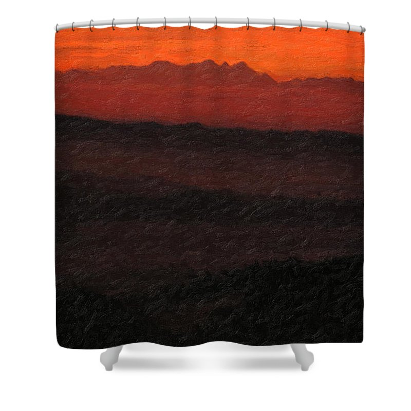 �not Quite Rothko� Collection By Serge Averbukh Shower Curtain featuring the photograph Not quite Rothko - Blood Red Skies by Serge Averbukh