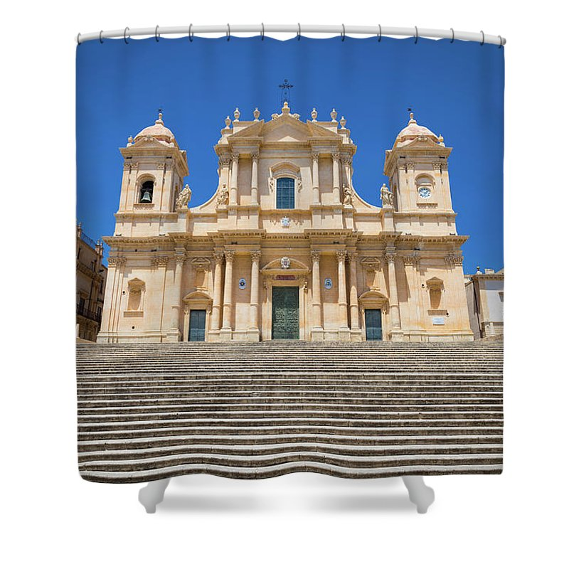 Architecture Shower Curtain featuring the photograph Noto, Sicily, Italy - San Nicolo Cathedral, Unesco Heritage Site by Paolo Modena