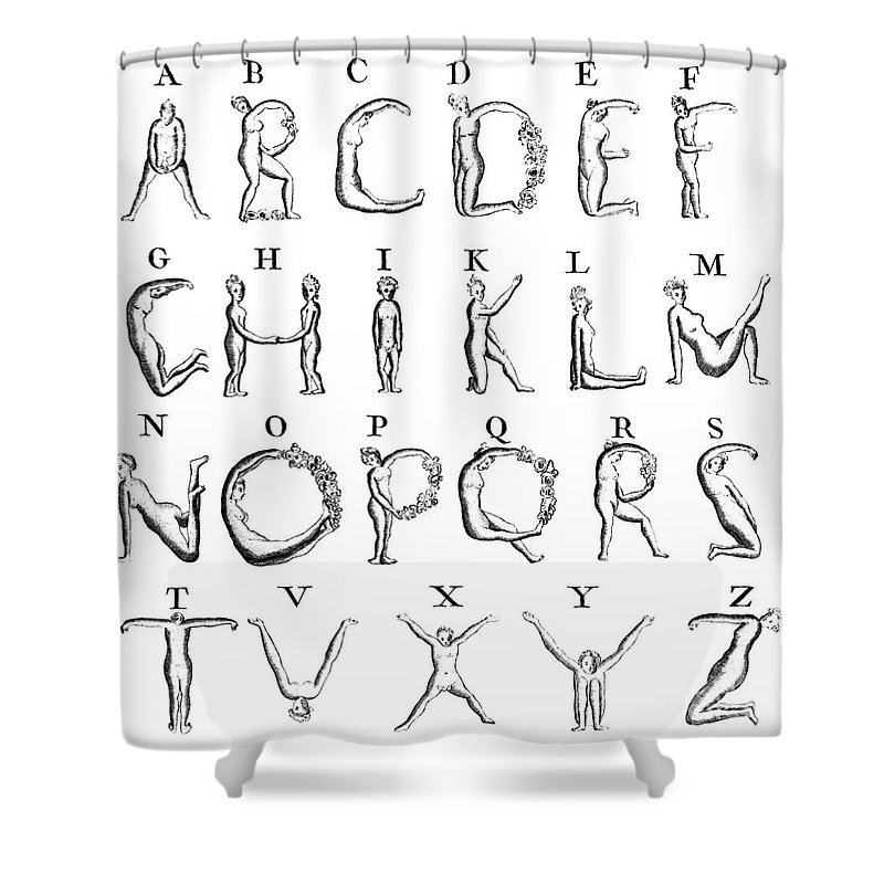 Nude Alphabet With No U, 1789 Shower Curtain for Sale by Science Source
