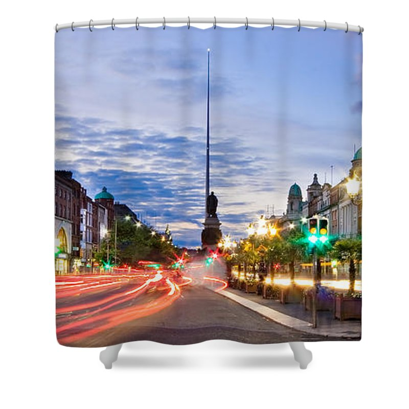O'connell Bridge Shower Curtain featuring the photograph O' Connell Bridge At Night - Dublin by Barry O Carroll
