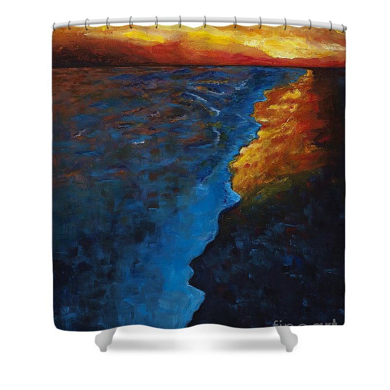 Abstract Ocean Shower Curtain featuring the painting Ocean Sunset by Frances Marino
