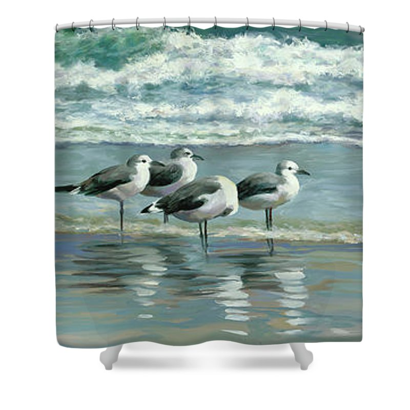 Beach Birds Shower Curtain Featuring The Painting Odd Man Out By Laurie Hein