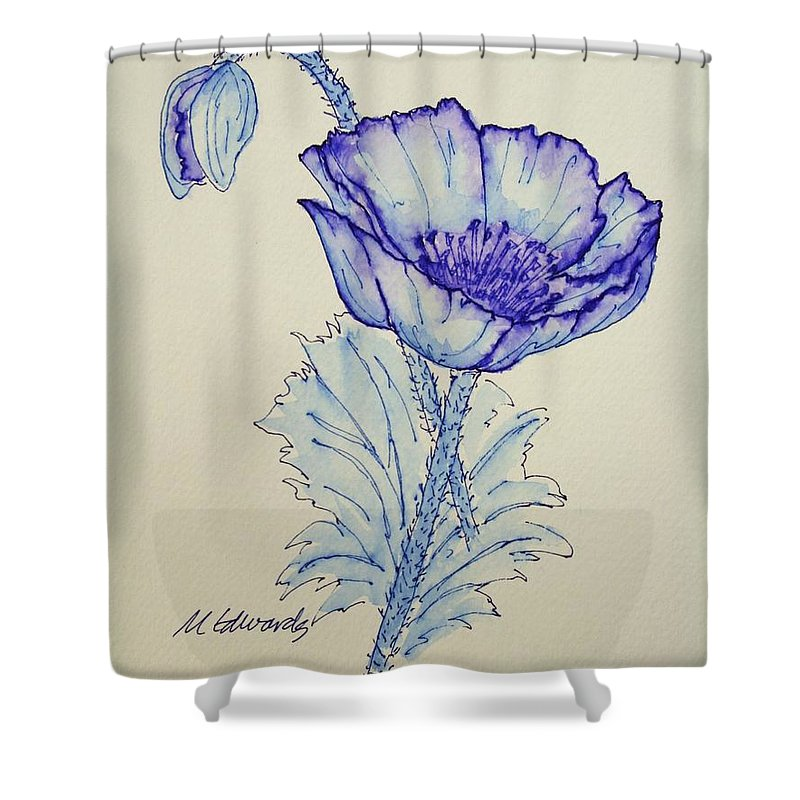 Poppy Shower Curtain featuring the drawing Oh Poppy by Marna Edwards Flavell