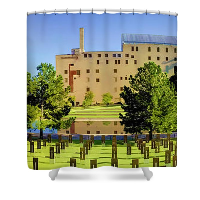 National Shower Curtain featuring the photograph Oklahoma City National Memorial by Ricky Barnard
