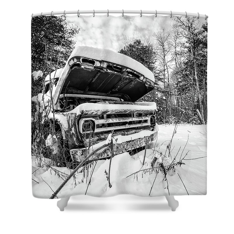 Newport Shower Curtain featuring the photograph Old Abandoned Pickup Truck In The Snow by Edward Fielding