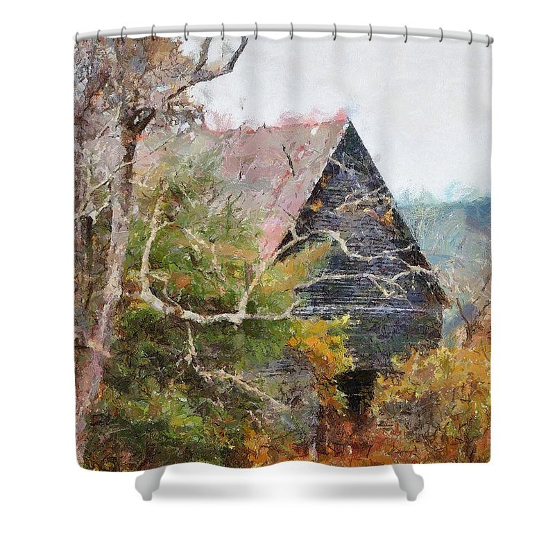 Landscape Shower Curtain featuring the digital art Old Barn At Cades Cove by Todd Blanchard