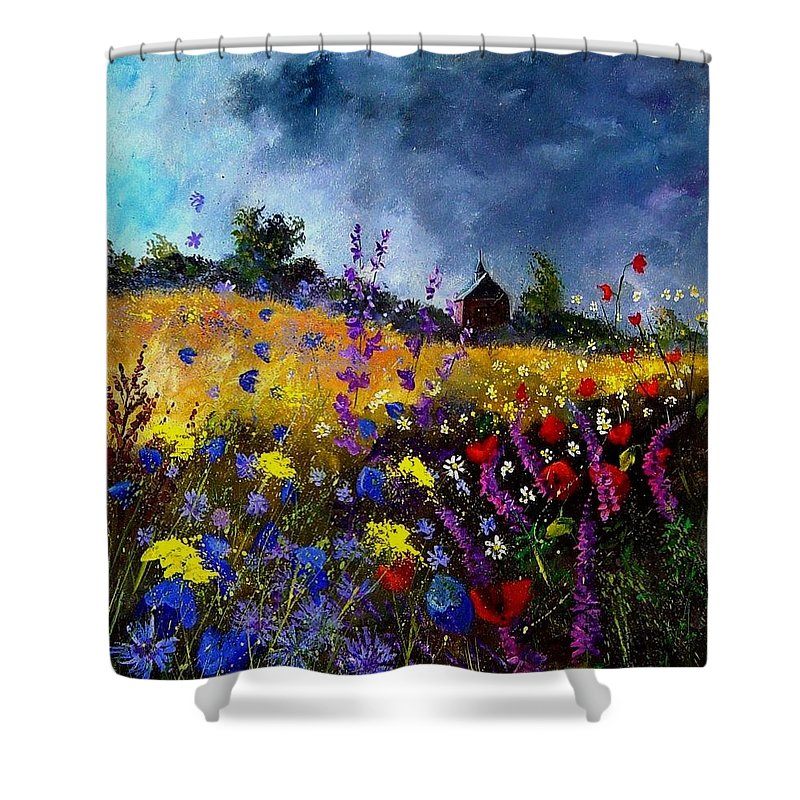 Flowers Shower Curtain featuring the painting Old Chapel And Flowers by Pol Ledent