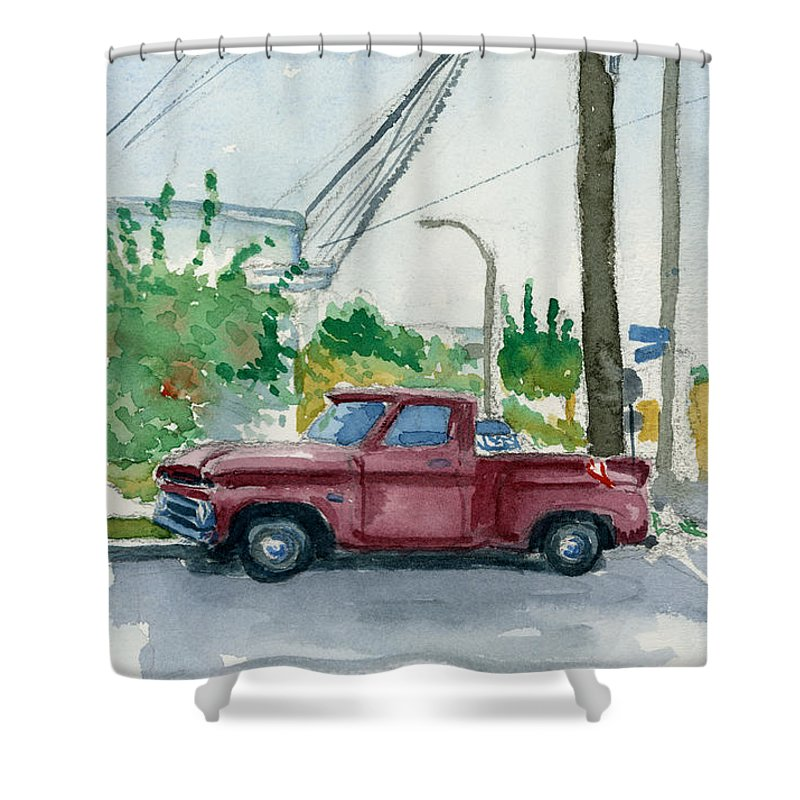 Chevy Shower Curtain featuring the painting Old Chevy On Wallnut by Edward Morden