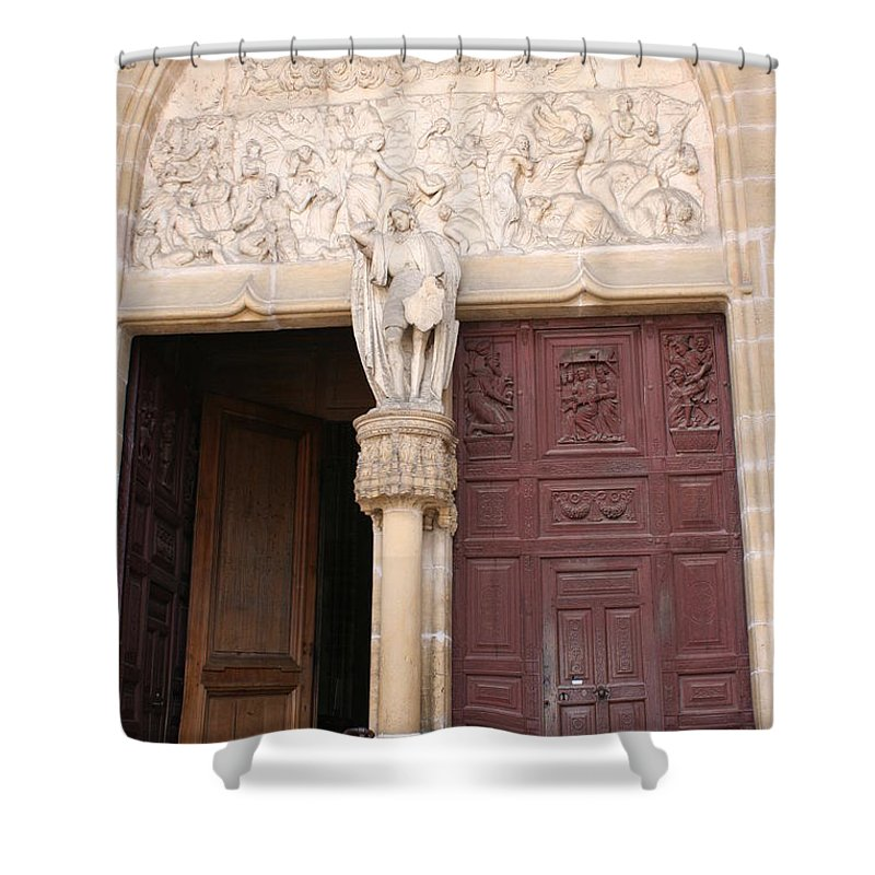 Door Shower Curtain featuring the photograph Old Church Door by Christiane Schulze Art And Photography