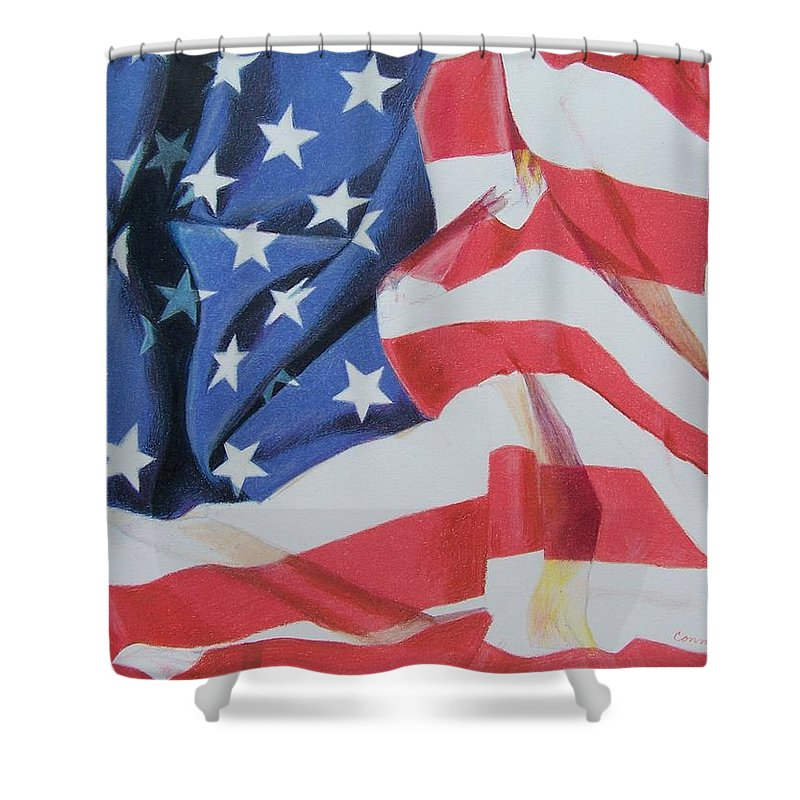 Flag Shower Curtain featuring the mixed media Old Glory by Constance Drescher