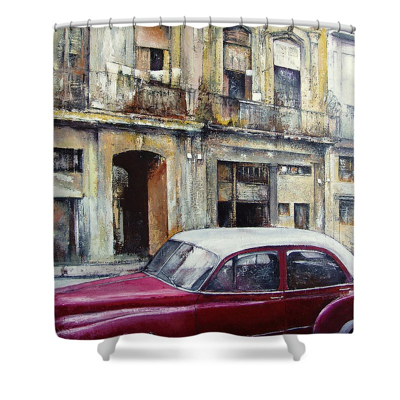 Old Havana Shower Curtain featuring the painting old Havana by Tomas Castano