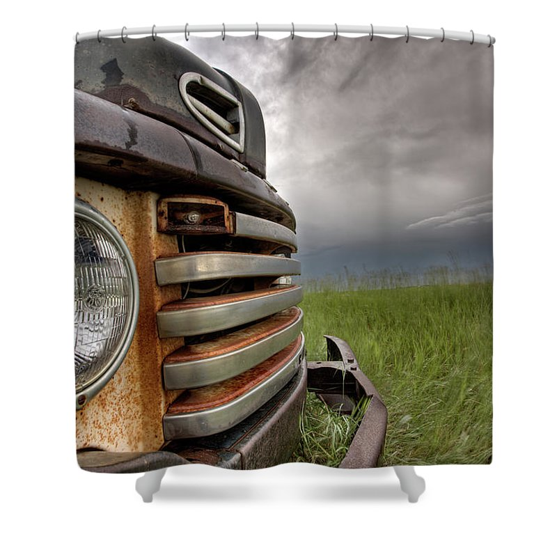 Transportation Shower Curtain featuring the digital art Old Vintage Truck On The Prairie by Mark Duffy