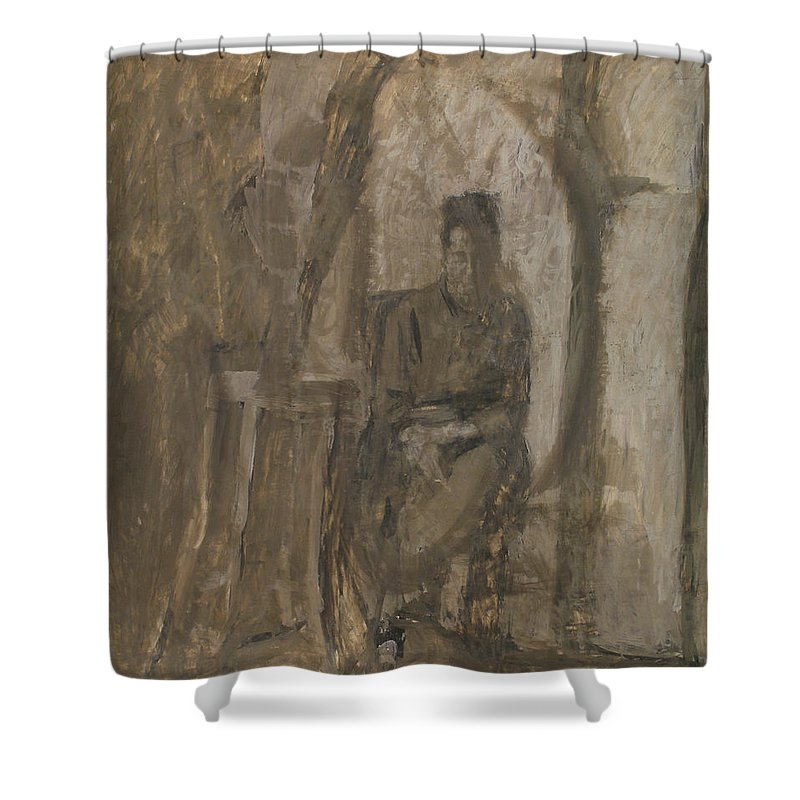 Portrait Shower Curtain featuring the painting Old Woman by Robert Nizamov