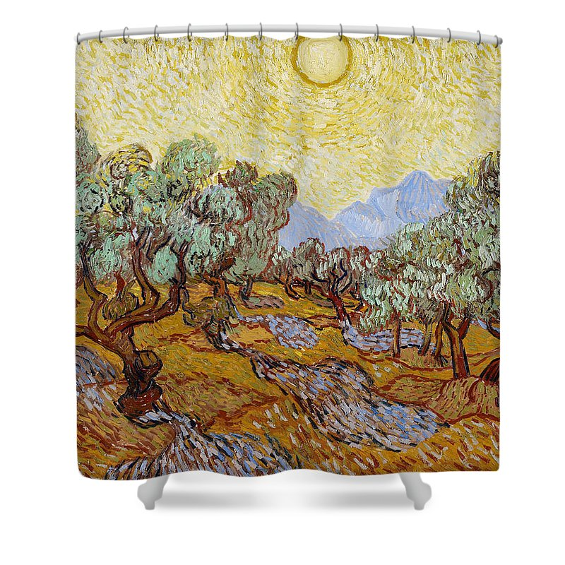 Dutch Shower Curtain featuring the painting Olive Trees With Yellow Sky And Sun by Vincent van Gogh