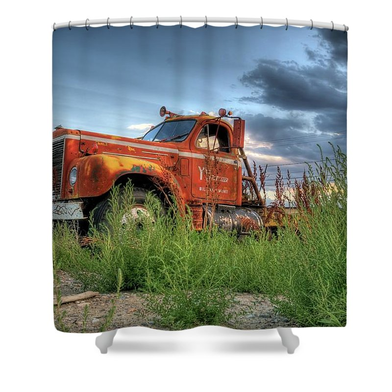 Truck Shower Curtain featuring the photograph Orange Truck by Dave Rennie