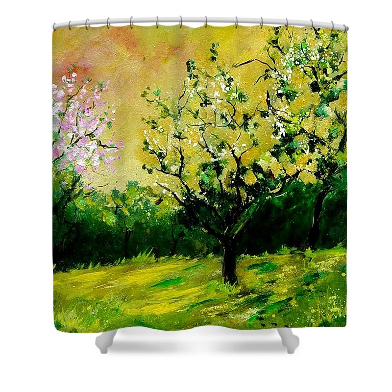 Landscape Shower Curtain featuring the painting Orchard by Pol Ledent