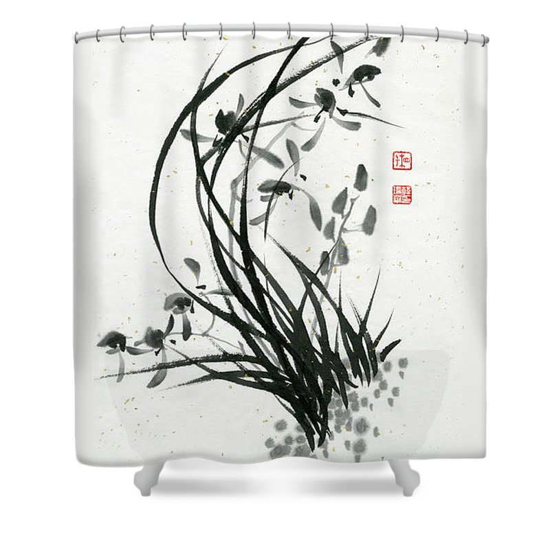 Orchid Shower Curtain featuring the painting Orchid - 31 by River Han