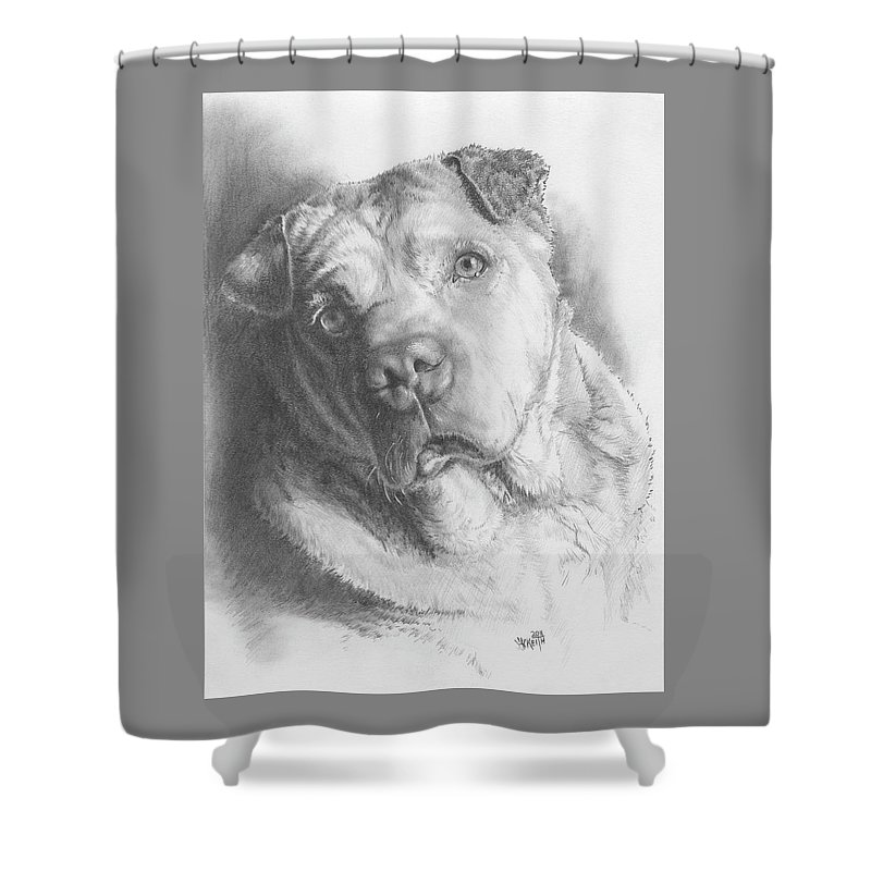 Mixed Breed Shower Curtain featuring the drawing Maxie by Barbara Keith