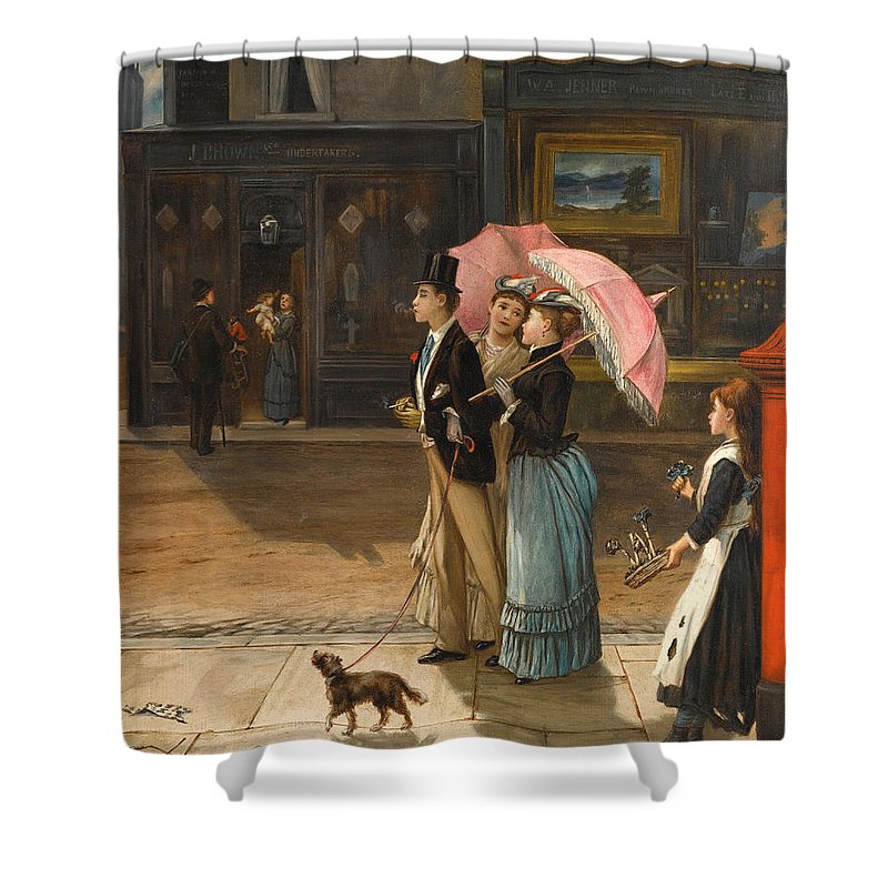 Augustus Edwin Mulready Shower Curtain featuring the painting Our Good Natured Cousin by Augustus Edwin Mulready